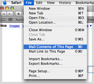 Safari Mail Contents