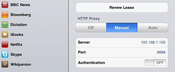 iPad HTTP proxy settings