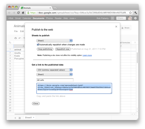 Screenshot showing exporting feed from Google Spreadsheet