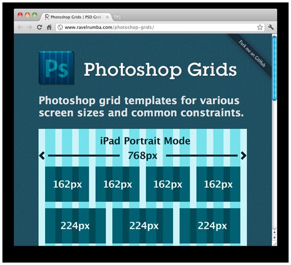 Screenshot of Photoshop Grid Templates