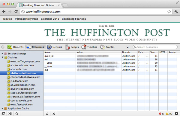 Screenshot showing Twitter third party cookie data on Huffington Post