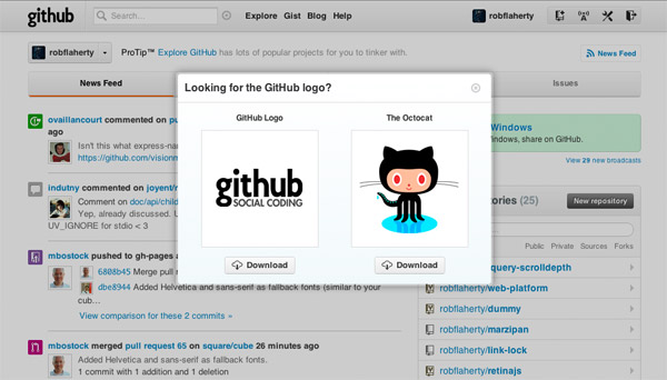 Screenshot of Github showing options to download logo